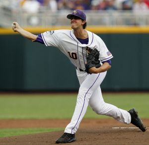 Jun 16, 2013; Omaha, NE, USA; LSU Tigers pitcher aaron Nola (10) pitcher throws against the UCLA Bruins during the College World Series at TD Ameritrade Park. Mandatory Credit: Bruce Thorson-USA TODAY Sports
