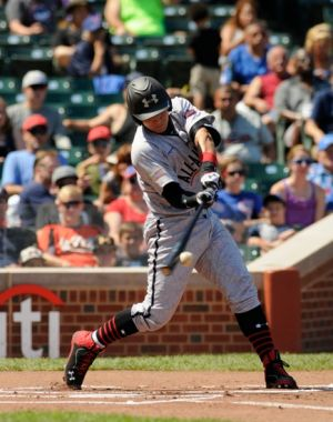 Aug 24, 2013; Chicago, IL, USA; American catcher Alex Jackson (10) during the 2013 Under Armour All-American Baseball game at Wrigley Field. Mandatory Credit: Reid Compton-USA TODAY Sports