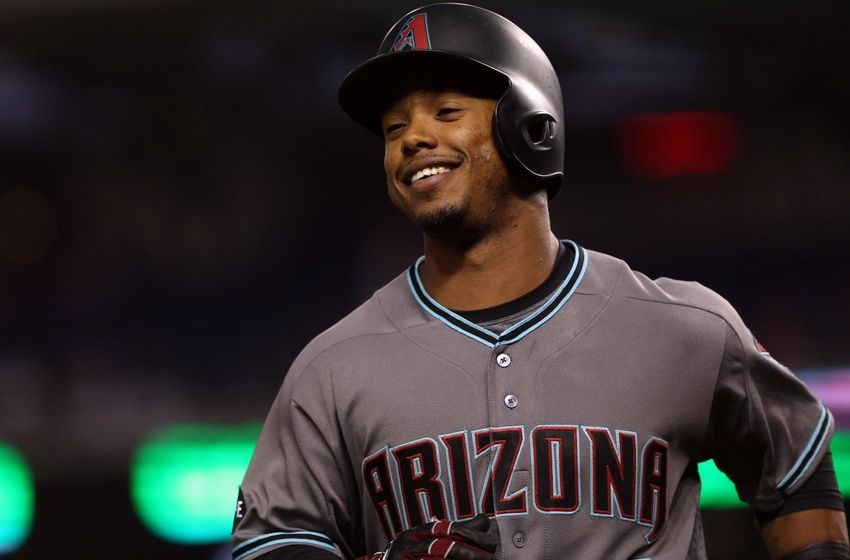 Sep 27, 2016; Washington, DC, USA; Arizona Diamondbacks second baseman Jean Segura (2) smiles while jogging to the dugout after hitting a solo home run against Washington Nationals starting pitcher Max Scherzer (not pictured) in the first inning at Nationals Park. Mandatory Credit: Geoff Burke-USA TODAY Sports