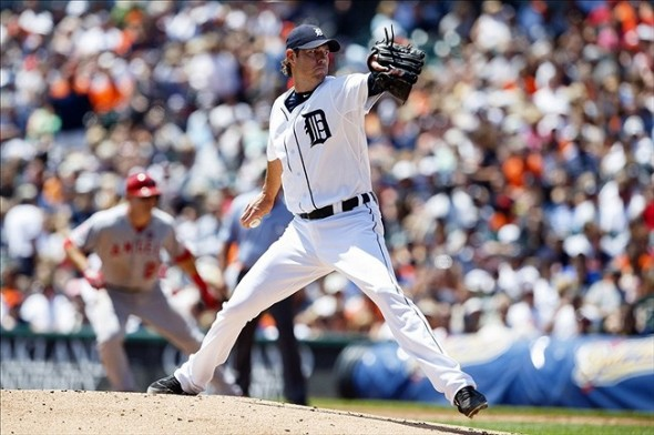 June 27, 2013; Detroit, MI, USA; Detroit Tigers starting pitcher Doug Fister (58) pitches in the first inning against the Los Angeles Angels at Comerica Park. Mandatory Credit: Rick Osentoski-USA TODAY Sports