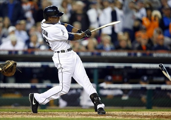 Oct 8, 2013; Detroit, MI, USA; Detroit Tigers center fielder Austin Jackson breaks his bat on a RBI single against the Oakland Athletics in the seventh inning in game four of the American League divisional series playoff baseball game at Comerica Park. Mandatory Credit: Rick Osentoski-USA TODAY Sports