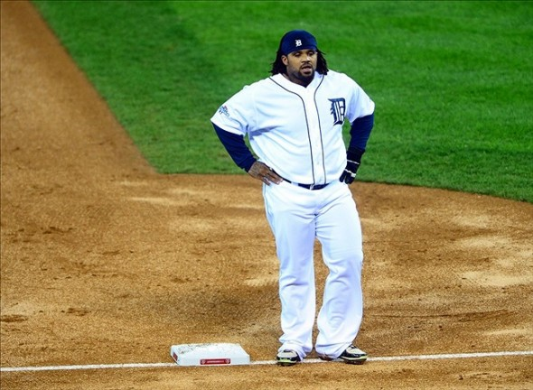 Oct 17, 2013; Detroit, MI, USA; Detroit Tigers first baseman Prince Fielder (28) reacts at the end of the first inning in game five of the American League Championship Series baseball game against the Boston Red Sox at Comerica Park. Mandatory Credit: Andrew Weber-USA TODAY Sports