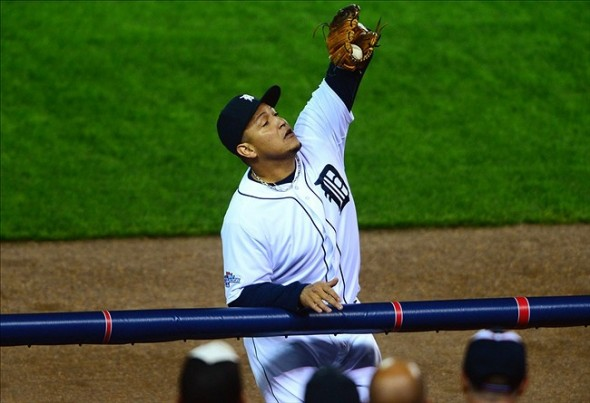 Oct 16, 2013; Detroit, MI, USA; Detroit Tigers third baseman Miguel Cabrera (24) catches a foul ball against the Boston Red Sox during the first inning in game four of the American League Championship Series baseball game at Comerica Park. Mandatory Credit: Andrew Weber-USA TODAY Sports