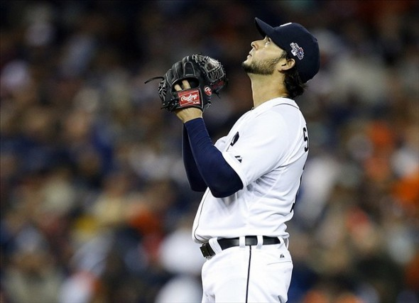 Oct 17, 2013; Detroit, MI, USA; Detroit Tigers starting pitcher Anibal Sanchez (19) reacts prior to the first inning against the Boston Red Sox in game five of the American League Championship Series baseball game at Comerica Park. Mandatory Credit: Rick Osentoski-USA TODAY Sports