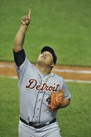 Aug 7, 2013; Cleveland, OH, USA; Detroit Tigers relief pitcher Bruce Rondon (43) reacts in the ninth inning against the Cleveland Indians at Progressive Field. Mandatory Credit: David Richard-USA TODAY Sports