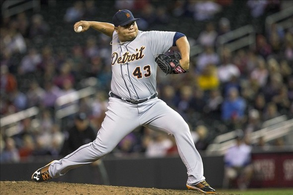 Sep 24, 2013; Minneapolis, MN, USA; Detroit Tigers relief pitcher Bruce Rondon (43) delivers a pitch in the eighth inning against the Minnesota Twins at Target Field. The Tigers won 4-2. Mandatory Credit: Jesse Johnson-USA TODAY Sports