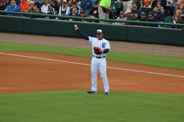 Miguel Cabrera warms up defensively. Credit: Courtney Jekot