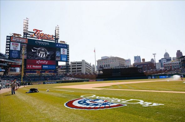 April 5, 2013; Detroit, MI, USA; Opening Day logo on the field before the game between the Detroit Tigers and the New York Yankees at Comerica Park. Mandatory Credit: Rick Osentoski-USA TODAY Sports