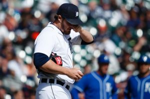 Apr 2, 2014; Detroit, MI, USA; Detroit Tigers relief pitcher Joe Nathan (36) wipes his eye against the Kansas City Royals at Comerica Park. Mandatory Credit: Rick Osentoski-USA TODAY Sports