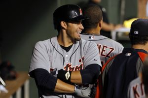 Jun 25, 2014; Arlington, TX, USA; Detroit Tigers left fielder J.D. Martinez (28) and designated hitter Victor Martinez (41) celebrate hitting back to back home runs in the fifth inning against the Texas Rangers at Globe Life Park in Arlington . Mandatory Credit: Tim Heitman-USA TODAY Sports