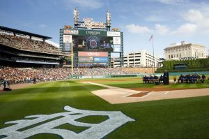 Jun 30, 2014; Detroit, MI, USA; Members of the 1984 world champion Detroit Tigers are honored before the game against the Oakland Athletics at Comerica Park. Mandatory Credit: Rick Osentoski-USA TODAY Sports