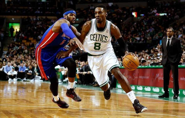 Dec 18, 2013; Boston, MA, USA; Boston Celtics shooting guard Jeff Green (8) drives on Detroit Pistons small forward Josh Smith (6) during the fourth quarter of Detroit