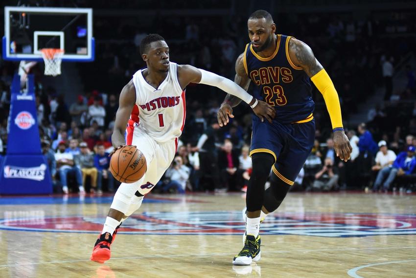 901e4c81 Apr 22, 2016; Auburn Hills, MI, USA; Detroit Pistons guard Reggie Jackson  (1) drives to the basket as Cleveland Cavaliers forward LeBron James (23)  defends ...
