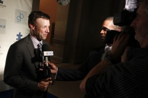 Matt Kenseth talks to media at an Autism charity event