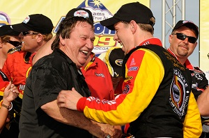 TALLADEGA, AL - APRIL 26: (R) Brad Keselowski, driver of the #09 Miccosukee Chevrolet, celebrates in victory lane with team owner James Finch after winning the NASCAR Sprint Cup Series Aaron's 499 at Talladega Superspeedway on April 26, 2009 in Talladega, Alabama. (Photo by Rusty Jarrett/Getty Images for NASCAR)