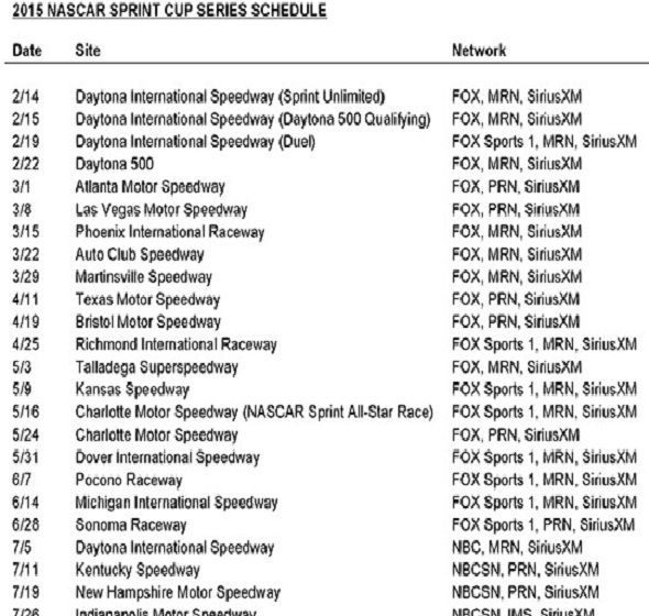 2015 NASCAR Sprint Cup schedule released - Stock Car Spin - A NASCAR ...