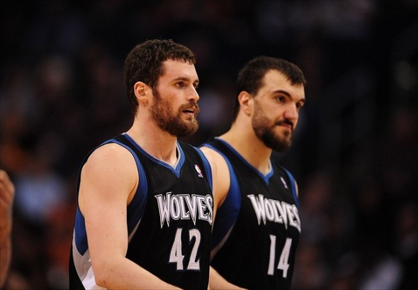 Mar. 1, 2012; Phoenix, AZ, USA; Minnesota Timberwolves forward (42) Kevin Love and center (14) Nikola Pekovic against the Phoenix Suns at the US Airways Center. The Suns defeated the Timberwolves 104-95. Mandatory Credit: Mark J. Rebilas-USA TODAY Sports