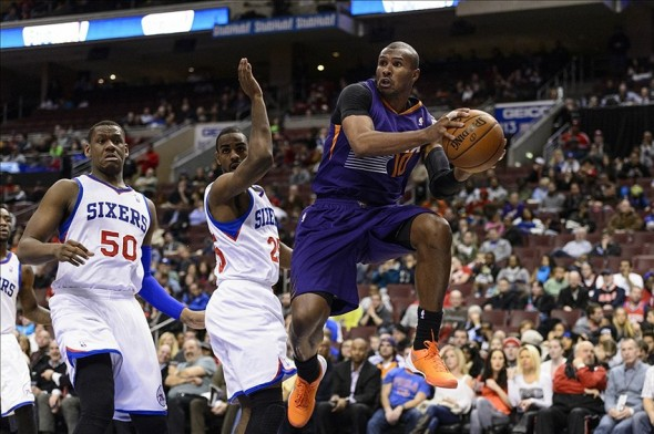 Jan 27, 2014; Philadelphia, PA, USA; Phoenix Suns guard Leandro Barbosa (10) passes the ball during the third quarter against the Philadelphia 76ers at the Wells Fargo Center. The Suns defeated the Sixers 124-113. Mandatory Credit: Howard Smith-USA TODAY Sports