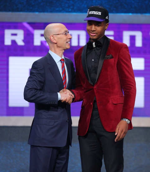 Jun 23, 2016; New York, NY, USA; Marquese Chriss (Washington) greets NBA commissioner Adam Silver after being selected as the number eight overall pick to the Sacramento Kings in the first round of the 2016 NBA Draft at Barclays Center. Mandatory Credit: Brad Penner-USA TODAY Sports