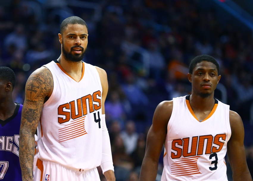 Nov 4, 2015; Phoenix, AZ, USA; Phoenix Suns center Tyson Chandler (4) and guard Brandon Knight (3) against the Sacramento Kings at Talking Stick Resort Arena. The Suns defeated the Kings 118-97. Mandatory Credit: Mark J. Rebilas-USA TODAY Sports