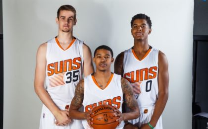 Sep 26, 2016; Phoenix, AZ, USA; Phoenix Suns forward Dragan Bender (left), guard Tyler Ulis (center) and forward Marquese Chriss pose for a portrait during media day at Talking Stick Resort Arena. Mandatory Credit: Mark J. Rebilas-USA TODAY Sports