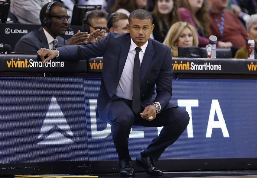 Dec 6, 2016; Salt Lake City, UT, USA; Phoenix Suns head coach Earl Watson keeps an eye on the action in the first quarter against the Utah Jazz at Vivint Smart Home Arena. Mandatory Credit: Jeff Swinger-USA TODAY Sports