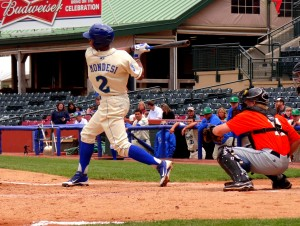 Raul Adalberto Mondesi hits in Lexington. (Photo: Heather Wright)