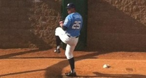 Kyle Zimmer warms up before his Double A debut. (Photo: Michelle Meade)