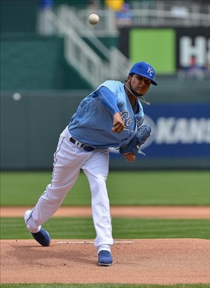 April 14, 2013; Kansas City, MO, USA; Kansas City Royals pitcher Ervin Santana (54) delivers a pitch against the Toronto Blue Jays during the first inning at Kauffman Stadium. Mandatory Credit: Peter G. Aiken-USA TODAY Sports