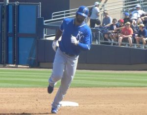 Royals Carlos Peguero homers during spring training against San Diego in 2014 (Jen Nevius).