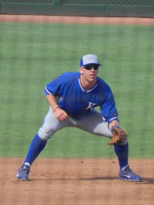 Hunter Dozier during a 2014 spring training game versus Cincinnati (Jen Nevius).