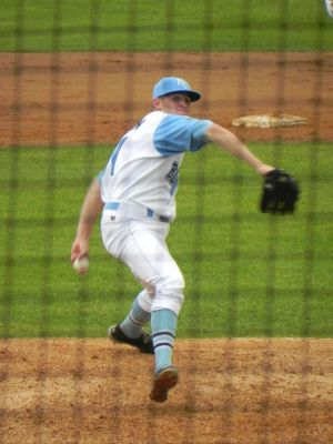 Sam Selman pitching for Wilmington on July 28, 2013 (Jen Nevius).