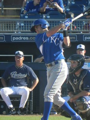 Whit Merrifield during 2014 spring training against the SD Padres (Jen Nevius).