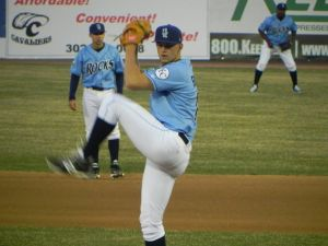 Blue Rocks starter Christian Binford against Winston-Salem on April 12, 2014 (Jen Nevius).