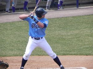 Blue Rocks third baseman Hunter Dozier at the plate on April 13, 2014 (Jen Nevius).