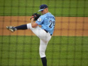 Blue Rocks starter Glenn Sparkman against Carolina on May 21, 2014 (Jen Nevius).
