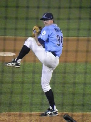 Blue Rocks reliever Johnny Walter on May 12, 2014 (Jen Nevius).