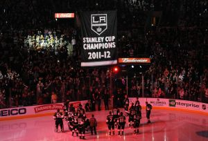 Jan.19, 2012; Los Angeles, CA, USA; The Stanley Cup championship banner for the Los Angeles Kings is raised during pre-game ceremonies before the game against the Chicago Blackhawks at the Staples Center. Mandatory Credit: Jayne Kamin-Oncea-USA TODAY Sports