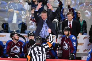 Apr 19, 2014; Denver, CO, USA; Colorado Avalanche head coach Patrick Roy reacts towards referee Kevin Pollock (33) in the second period against the Minnesota Wild during game two of the first round of the 2014 Stanley Cup Playoffs at the Pepsi Center. Mandatory Credit: Ron Chenoy-USA TODAY Sports