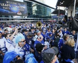 May 6, 2013; Toronto, Ontario, CAN; Fans gather in Maple Leaf Square outside of the Air Canada Centre prior to game three of the first round of the 2013 Stanley Cup playoffs. Mandatory Credit: John E. Sokolowski-USA TODAY Sports
