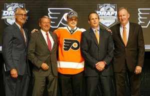 June 22, 2012; Pittsburgh, PA, USA; Scott Laughton is selected as the number twenty overall draft pick to the Philadelphia Flyers in the 2012 NHL Draft at CONSOL Energy Center. Mandatory Credit: Charles LeClaire-USA TODAY Sports