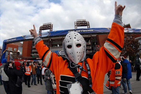 Jan 2, 2012; Philadelphia, PA, USA; Philadelphia Flyers fan Gordon Hoard wears his Bernie Parent before the 2012 Winter Classic against the New York Rangers at Citizens Bank Park. Mandatory Credit: Eric Hartline-USA TODAY Sports
