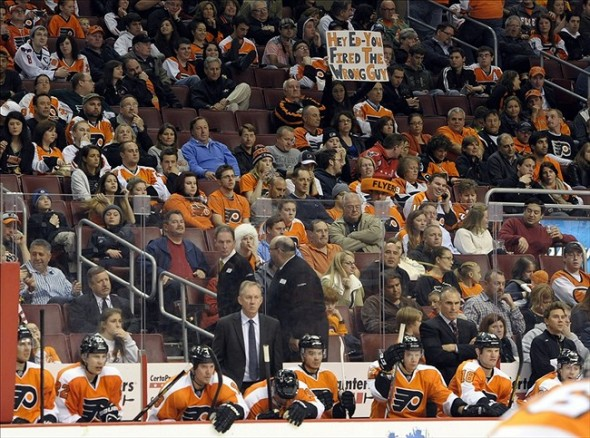 Nov 1, 2013; Philadelphia, PA, USA; Philadelphia Flyers fan holds up a sign against the Washington Capitals during the second period at Wells Fargo Center. Mandatory Credit: Eric Hartline-USA TODAY Sports