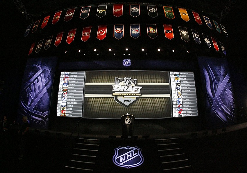 General view of the stage prior to the 2012 NHL Draft at CONSOL Energy Center. Mandatory Credit: Charles LeClaire-USA TODAY Sports