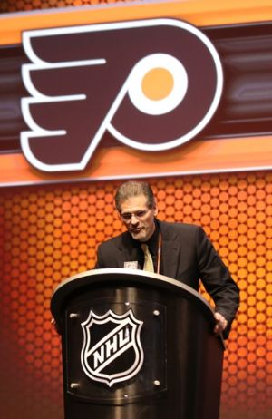 Jun 27, 2014; Philadelphia, PA, USA; Philadelphia Flyers general manager Ron Hextall announces Travis Sanheim (not pictured) as the number seventeen overall pick to the Philadelphia Flyers in the first round of the 2014 NHL Draft at Wells Fargo Center. Mandatory Credit: Bill Streicher-USA TODAY Sports
