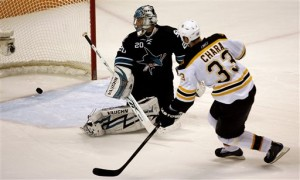Chara scored another memorable shootout goal on Thursday night in San Jose (AP Photo/Tony Avelar)