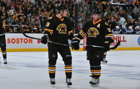 Boston Bruins Forwards Tyler Seguin And Mark Recchi In The 2010-2011 Season