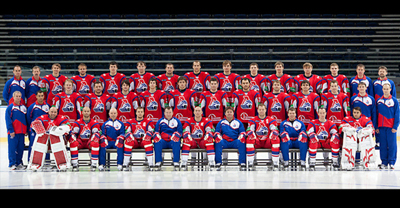 A family picture taken on August 21, 2011 shows Lokomotiv ice hockey team in Yaroslavl. At least 44 people were killed September 7, 2011 when a Russian jet carrying hockey players to their first match of the season crashed on takeoff in the latest blow to the country's tainted air safety record. AFP PHOTO