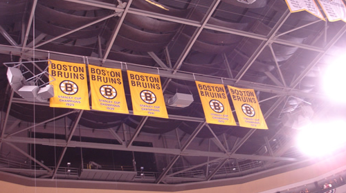 The TD Garden in Boston, MA has long kept an empty place for a new Boston Bruins championship banner. That banner will be raised on October 6th, 2011. Photo by Derek Caron