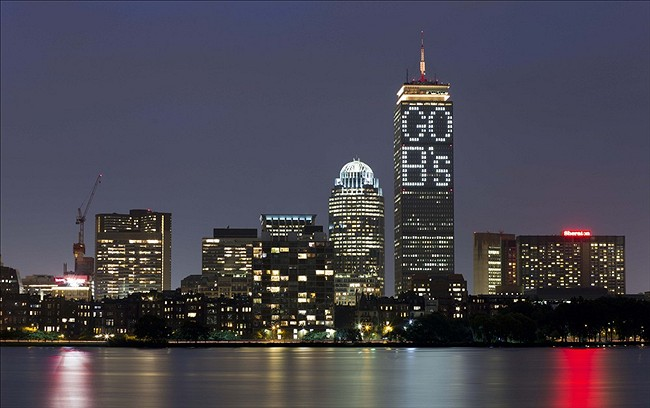 "Jun 24, 2013; Boston, MA, USA; A general view of the Boston skyline and the phrase ""Go B"